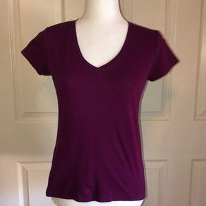 Banana Republic Dark Plum V Neck Tee